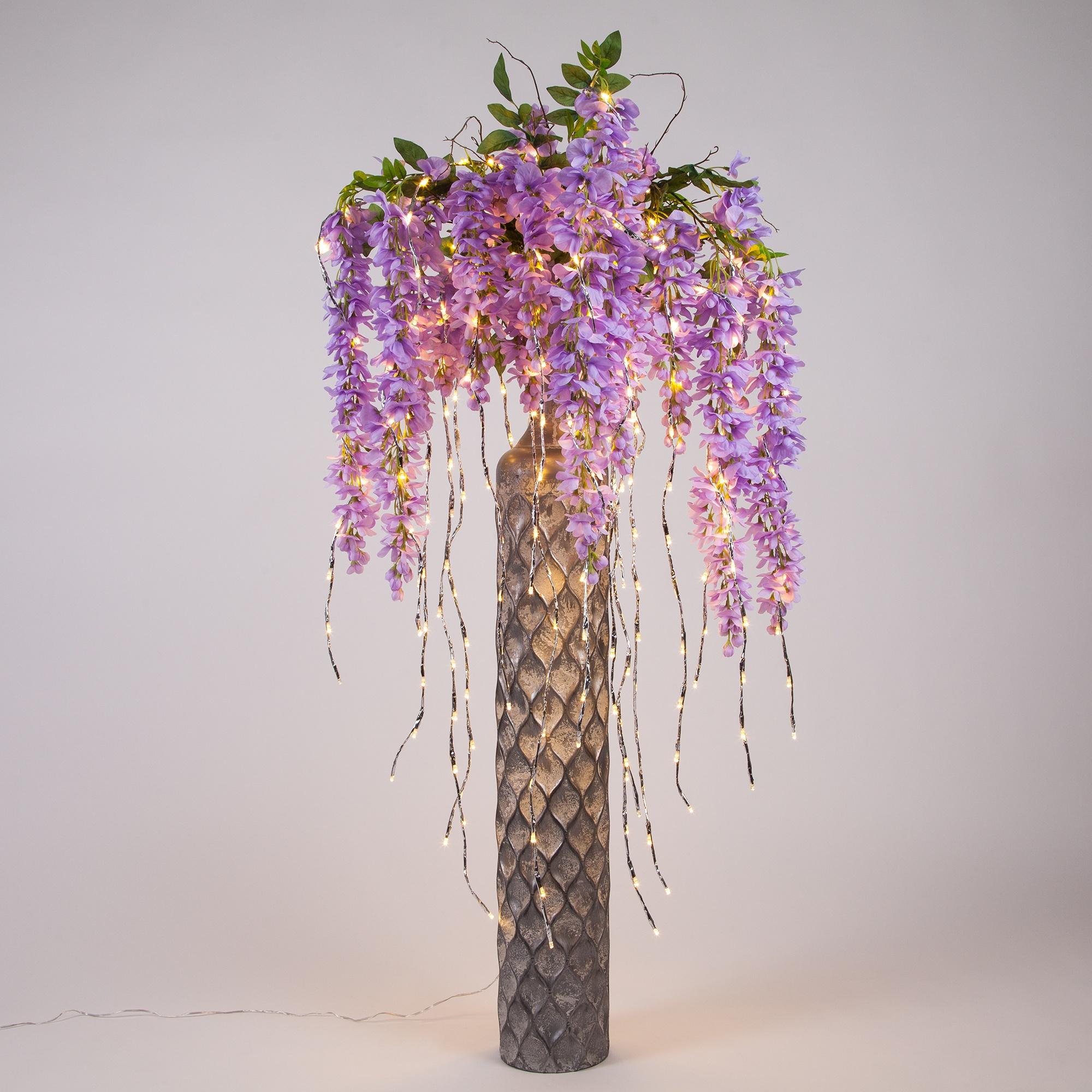 Pink Flowers Lighted Branch Vase Decoration