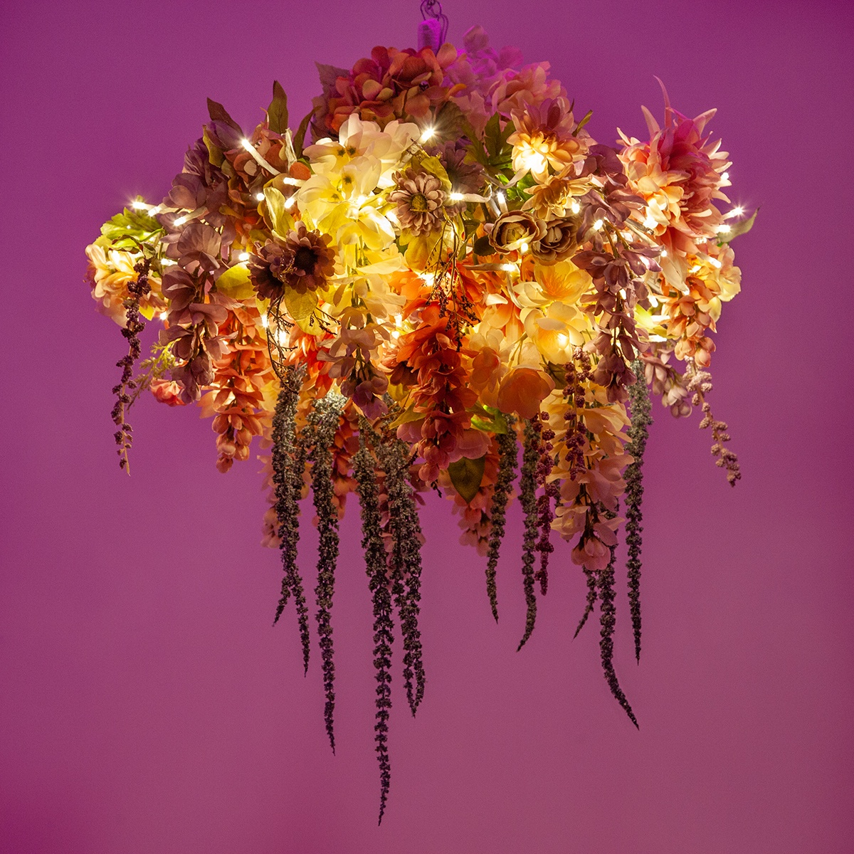 DIY Chandelier Faux Floral Arrangement Made with Starburst Lighted Branches
