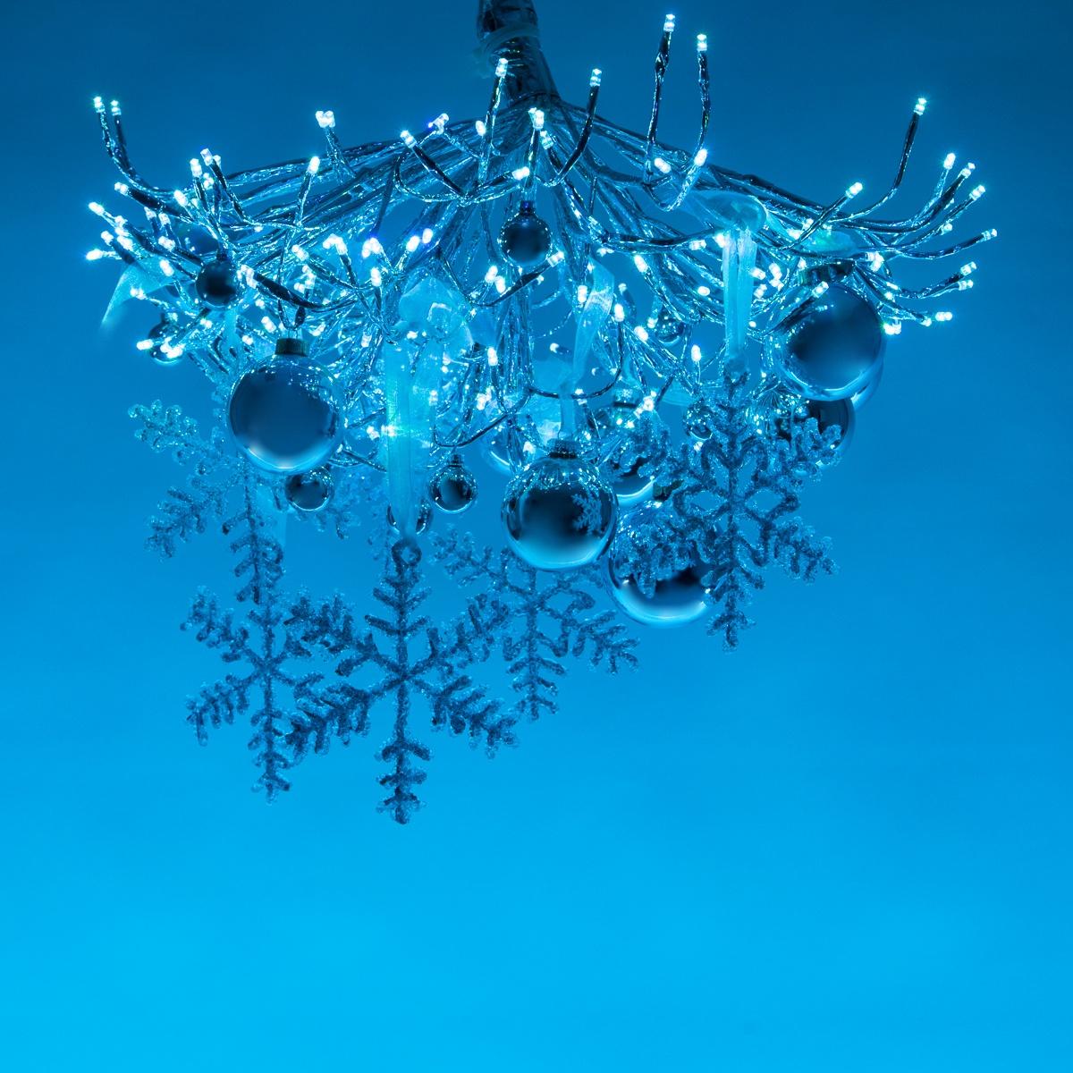 Winter Wonderland DIY Christmas Decoration - Lighted Branches Chandelier