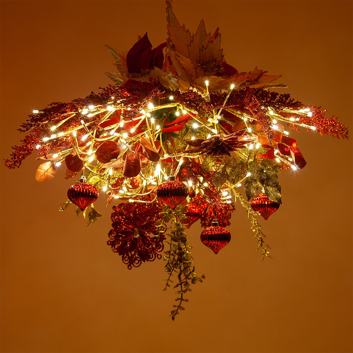 DIY Christmas Decoration - Red & Gold Lighted Branches Chandelier