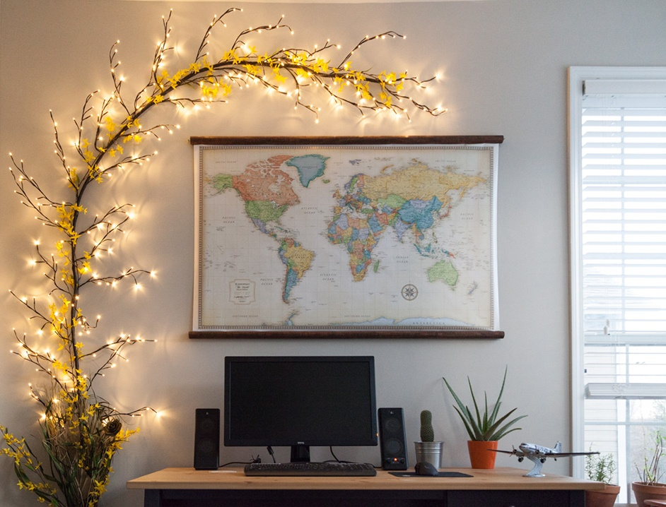 Climbing Vine Lighted Branches - 3D Wall Art for Home Office
