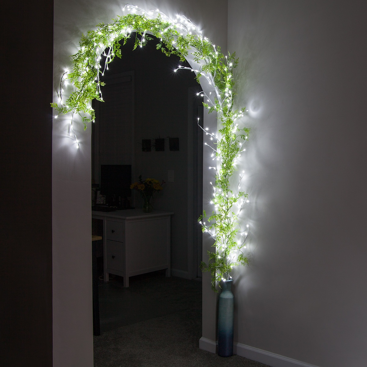 Climbing Vine Lighted Branches Vase and Greenery