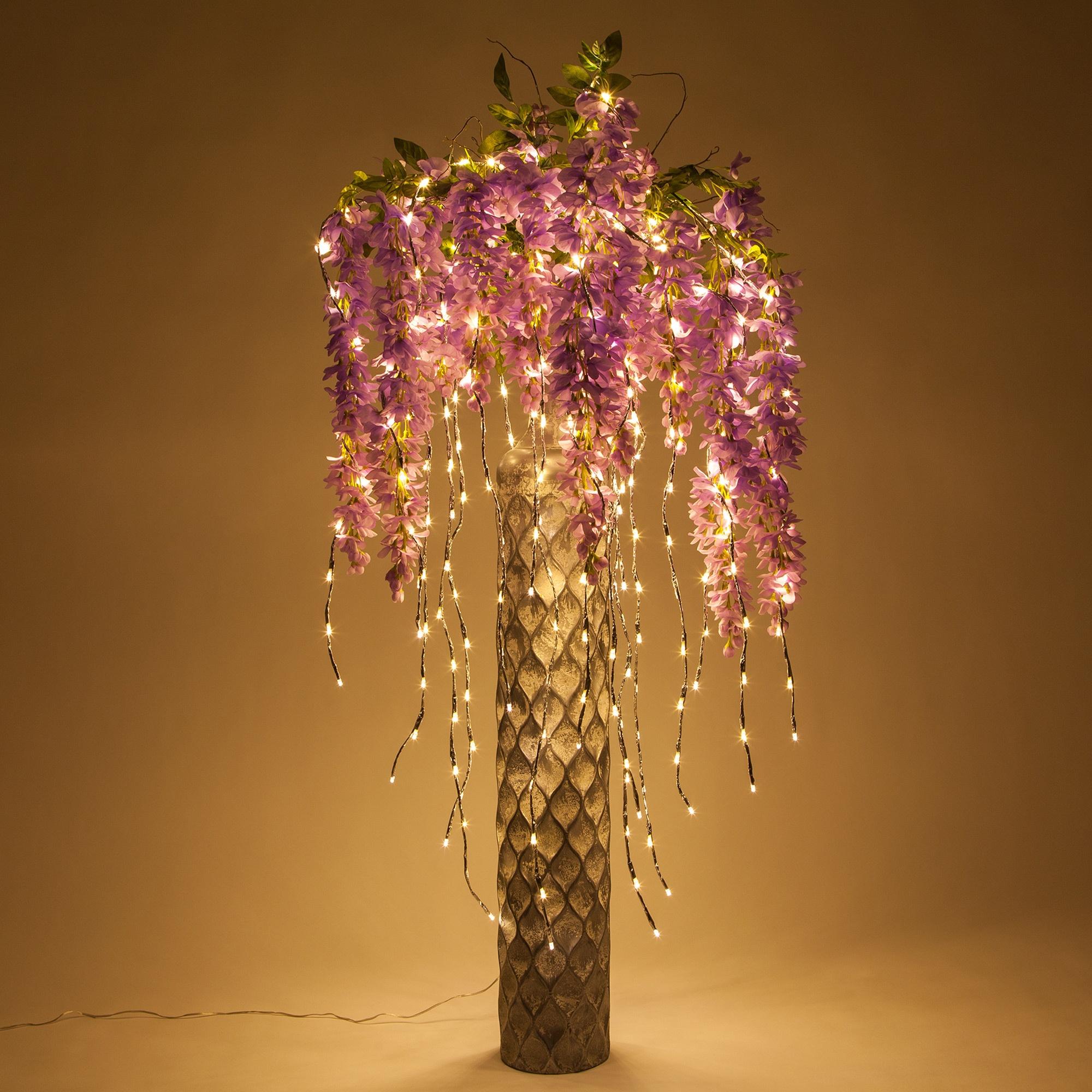 Pink Flowers Lighted Branch Vase Decor