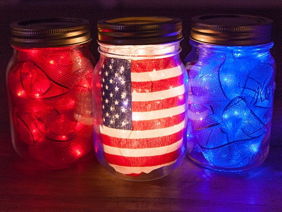 July 4th Mason Jar DIY Decor with Fairy Lights