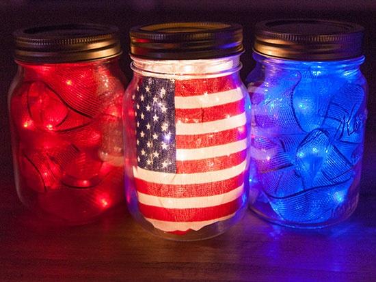 July 4th Mason Jar DIY Decor with Fairy Lights