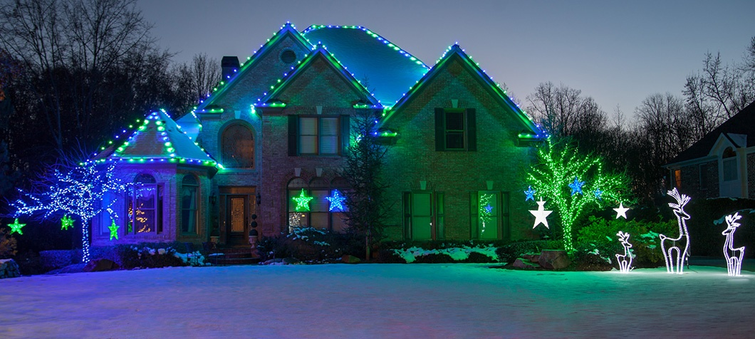 Blue & Green LED Outdoor Christmas Decorations