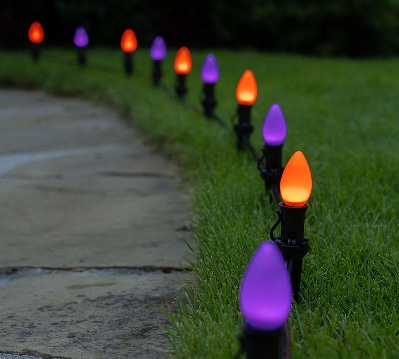 Purple & Orange Spooky Halloween Walkway Lights