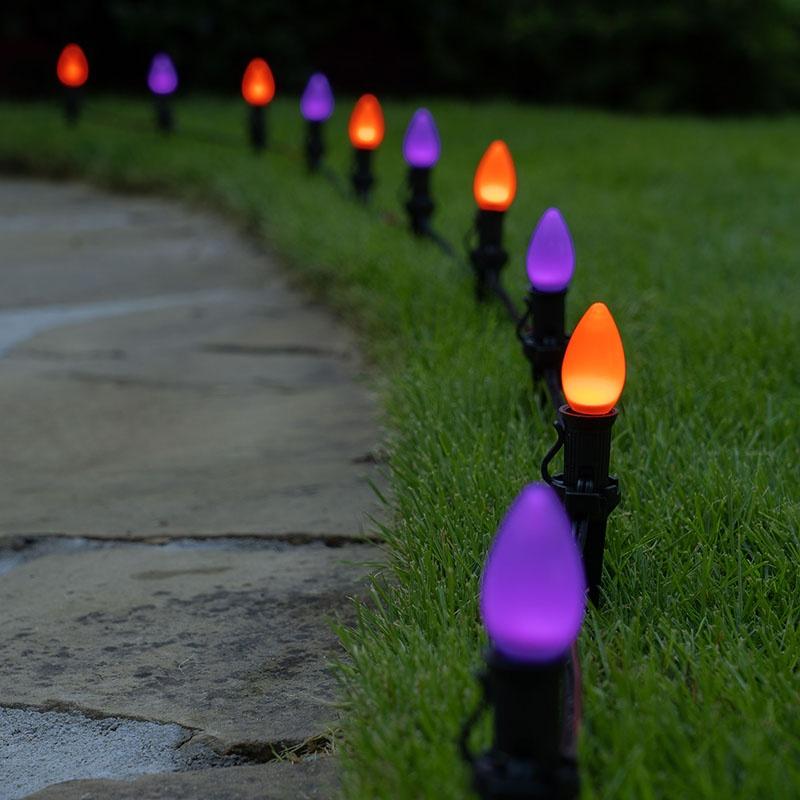 Purple & Orange Halloween Pathway Lights