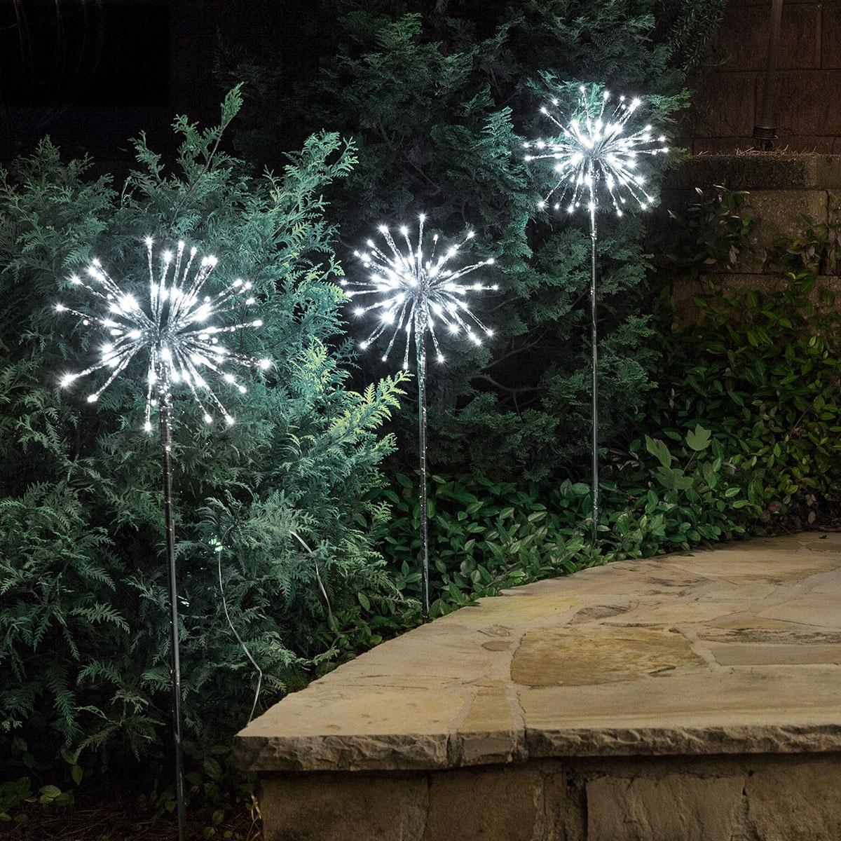 Cool White LED Starburst Light Stake for Garden Walkways