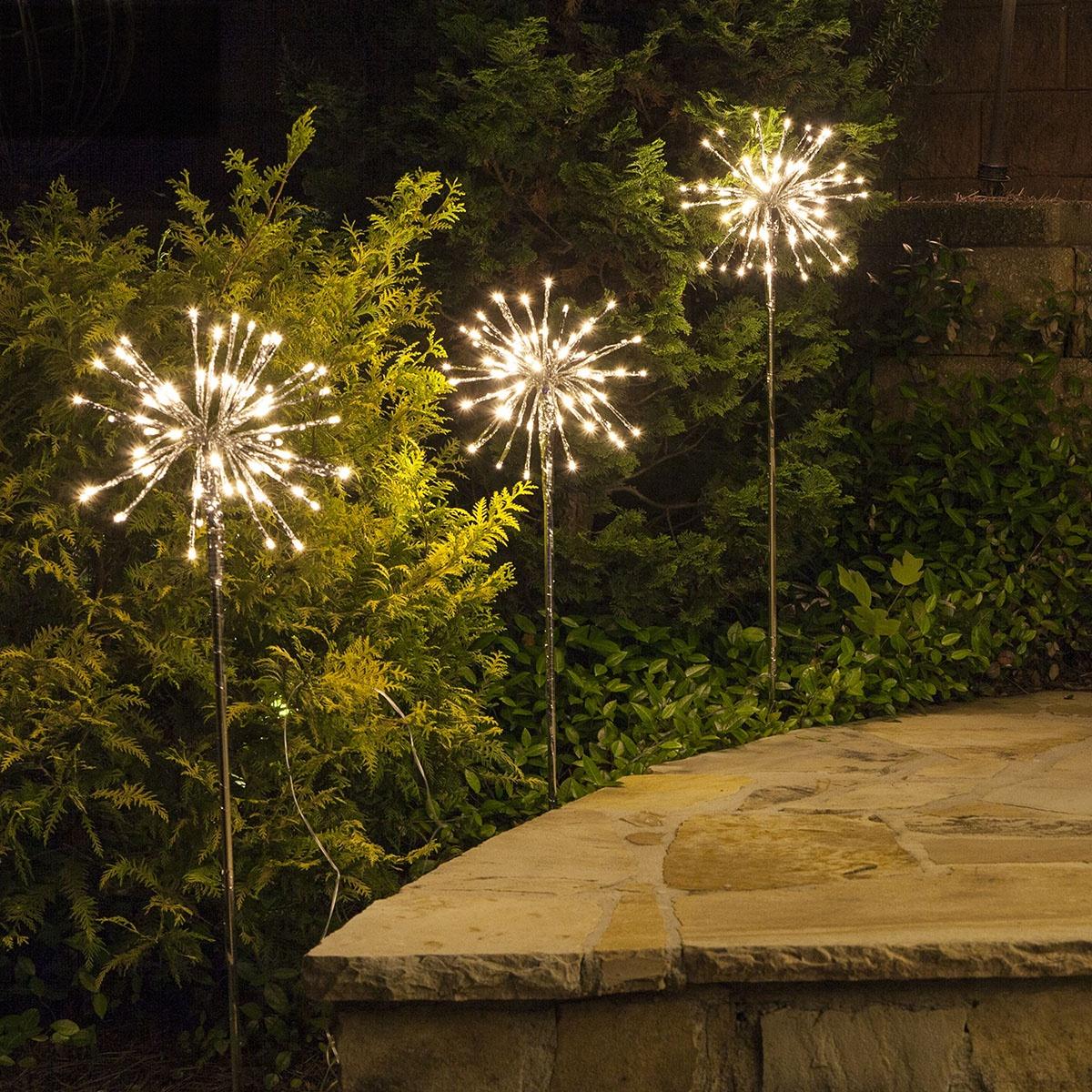 Warm White LED Starburst Light Stake for Garden Walkways