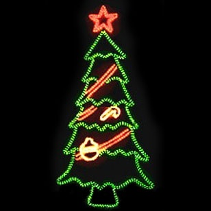 giant 8 tree with bright red star topper and ornaments