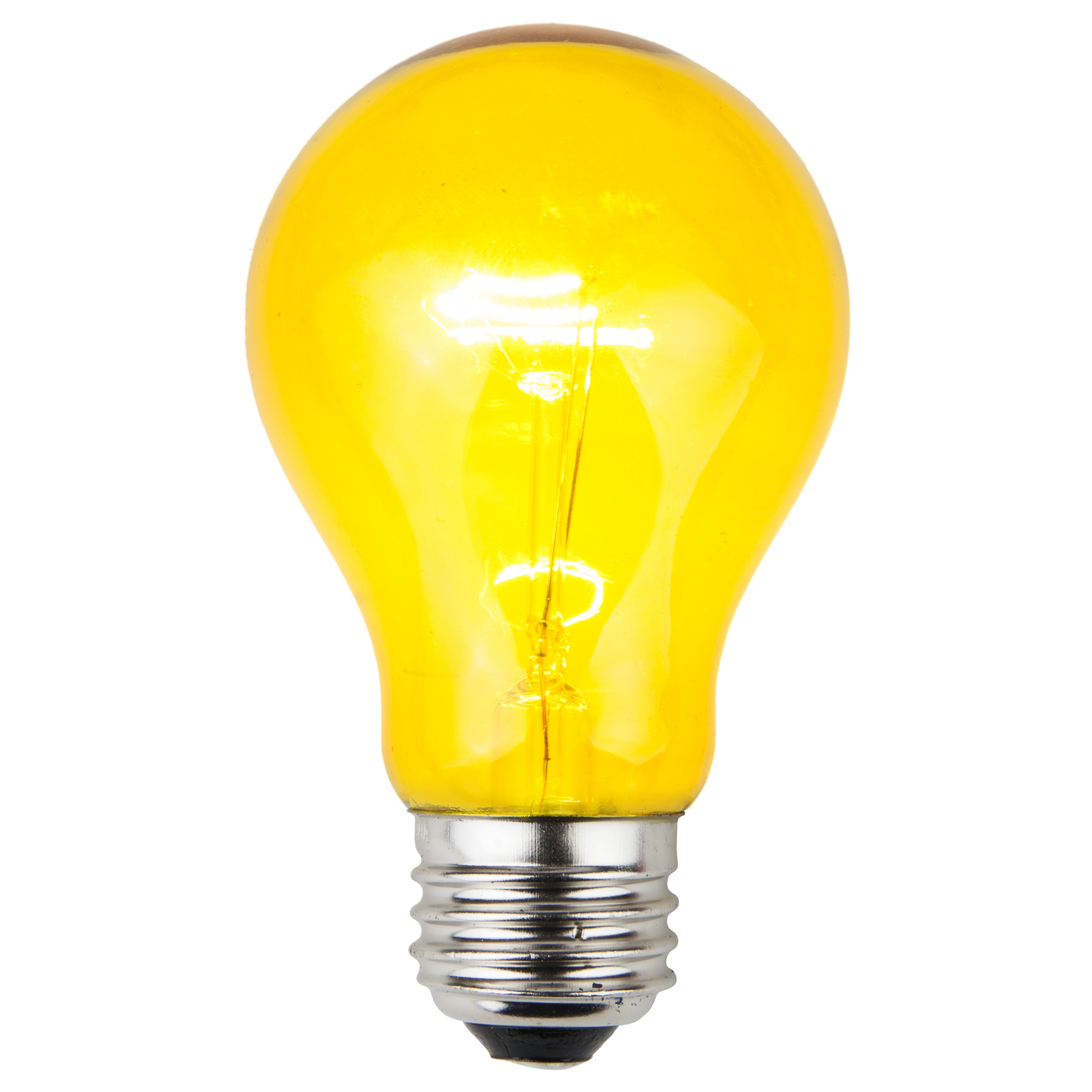 E26 Party And Sign Bulbs A19 Transparent Yellow 25 Watt