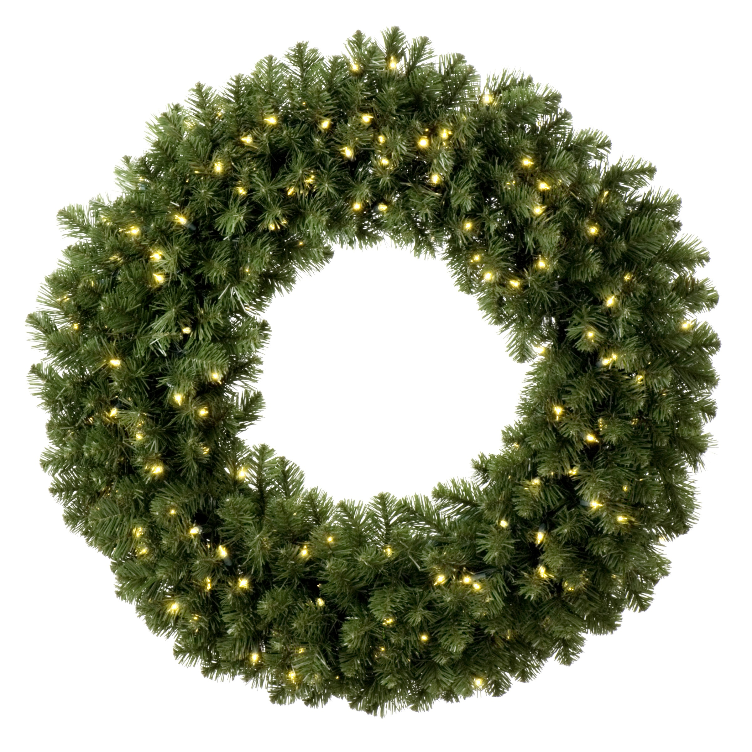 Artificial Christmas Wreaths - Sequoia Fir Prelit Commercial LED Christmas Wreath, Warm White Lights