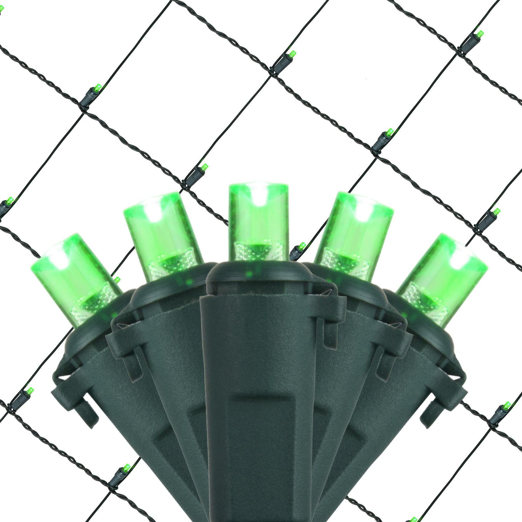 LED Net Lights - 5MM 4'x6' Green LED Net Lights, Green Wire