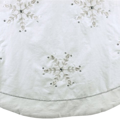 72 white linen embroidered snowflake jewels tree skirt - White Christmas Tree Skirts
