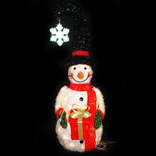 Christmas Lawn Decorations 3d Lighted Snowman With Santa Hat