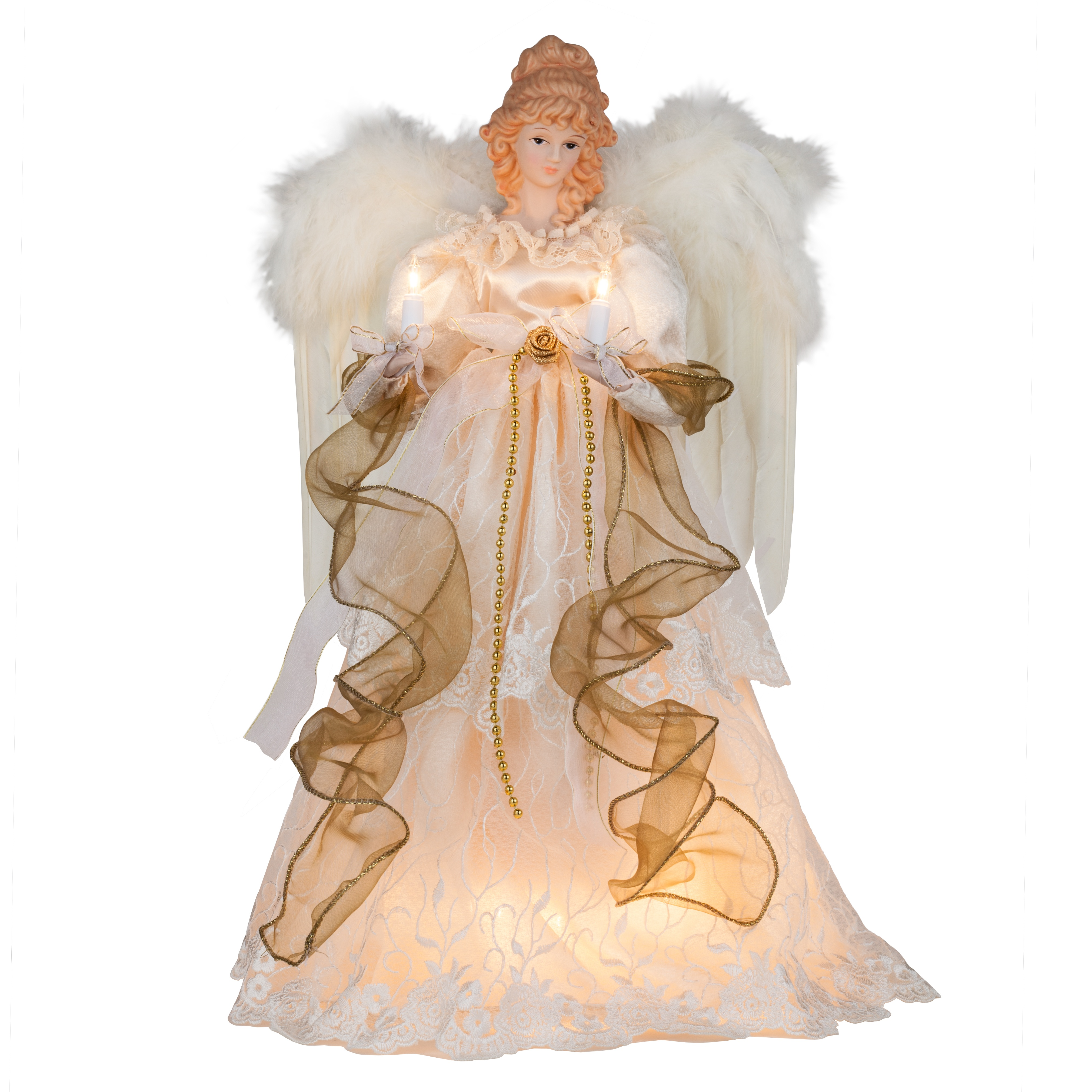 "Christmas Tree Angel Tree Topper: 16.5"" Ivory And Gold Angel Tree"