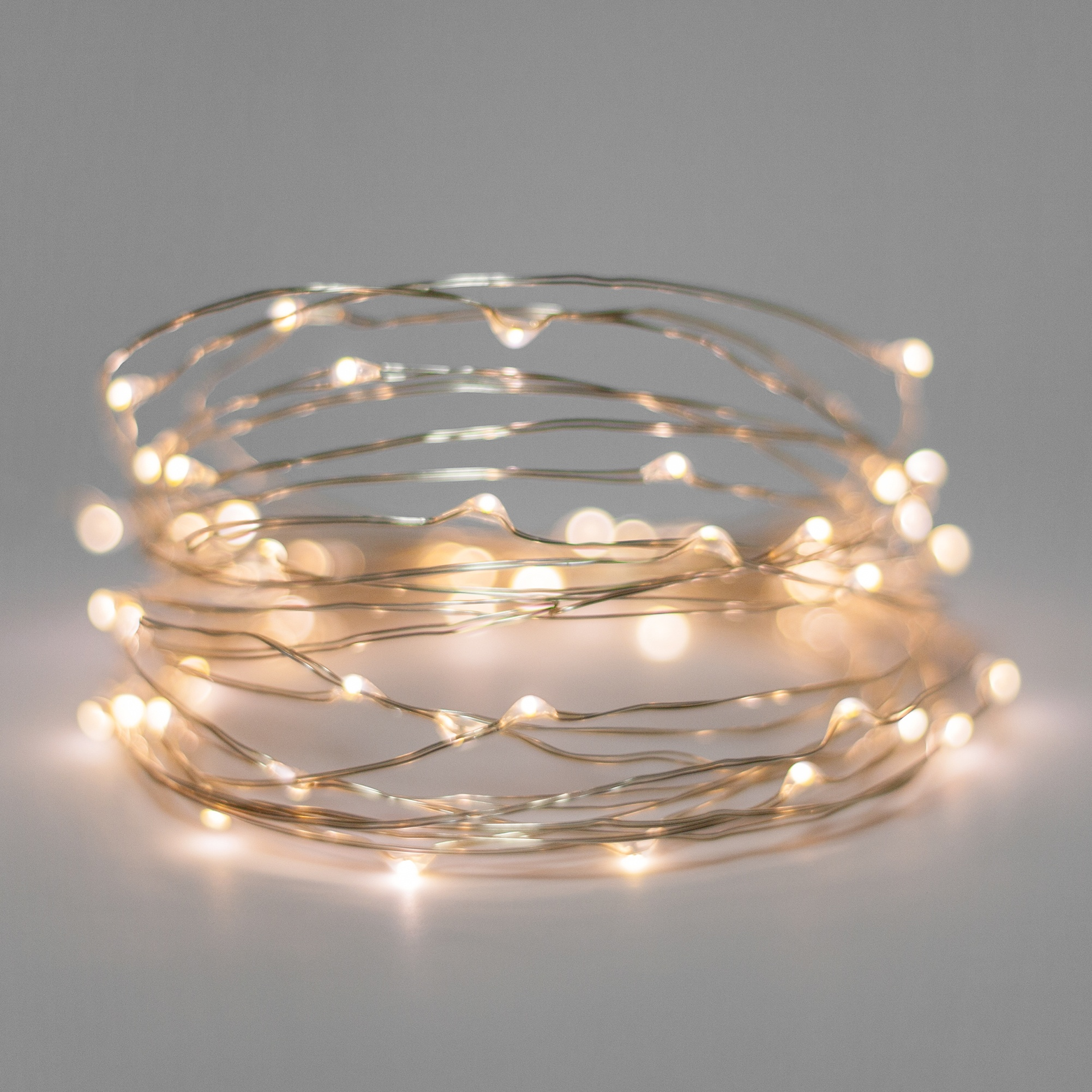 Battery Operated Lights - 60 Warm White Battery Operated LED Fairy Lights, Silver Wire