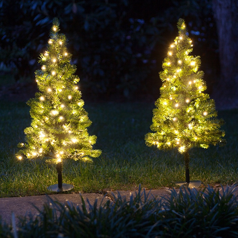 led christmas tree outdoor decorations 3 walkway pre lit winchester fir 10593