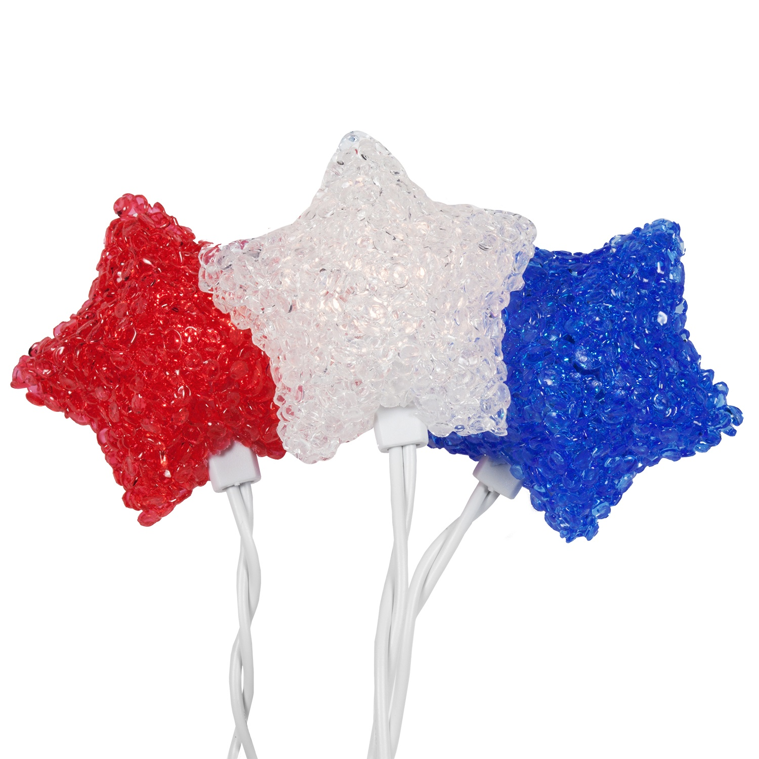 Novelty Lights Red White Blue Star Umbrella 35 Light Set