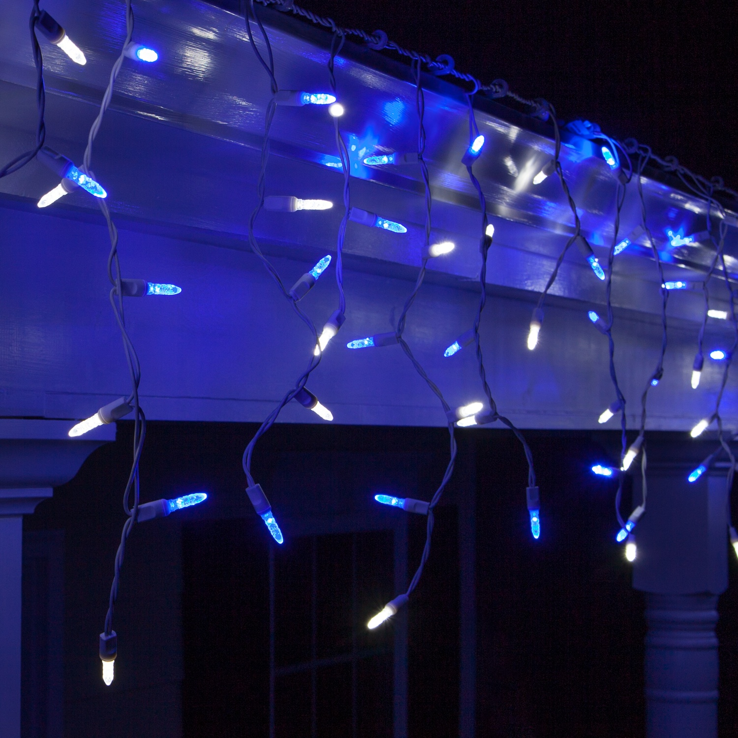LED Christmas Lights - 70 M5 Blue and White LED Icicle Lights