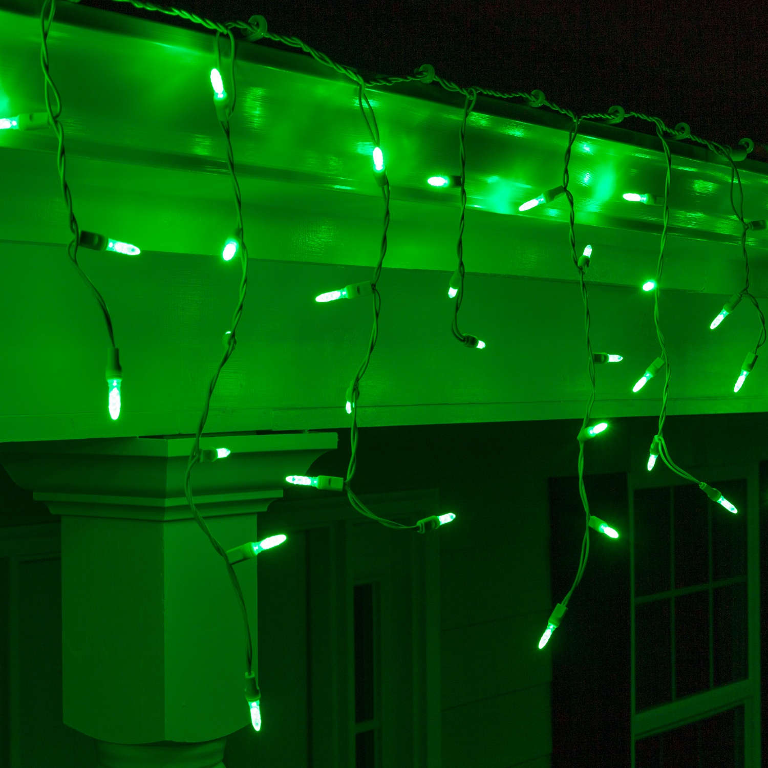 LED Christmas Lights - 70 M5 Green LED Icicle Lights