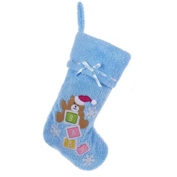 Christmas Stockings 19 Quot Blue Teddy Bear Stocking For Baby