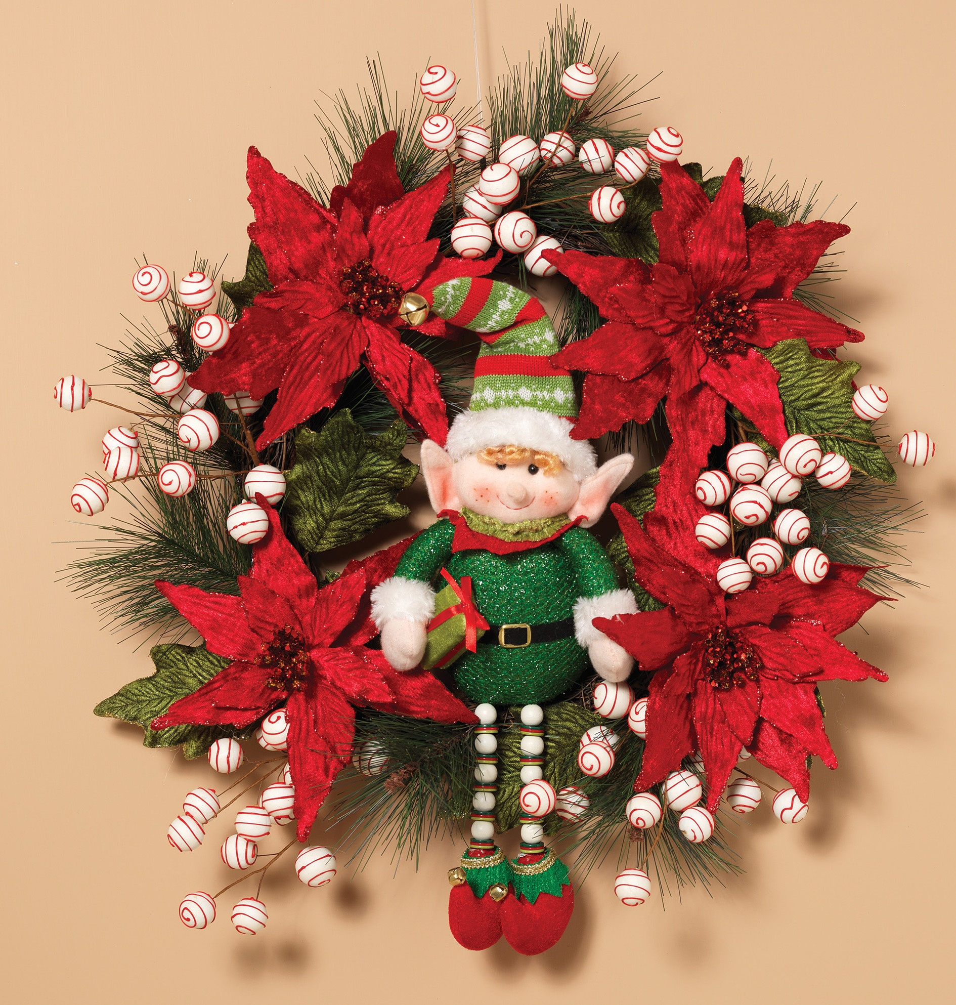 Happy Holidays Poinsettia Unlit Wreath