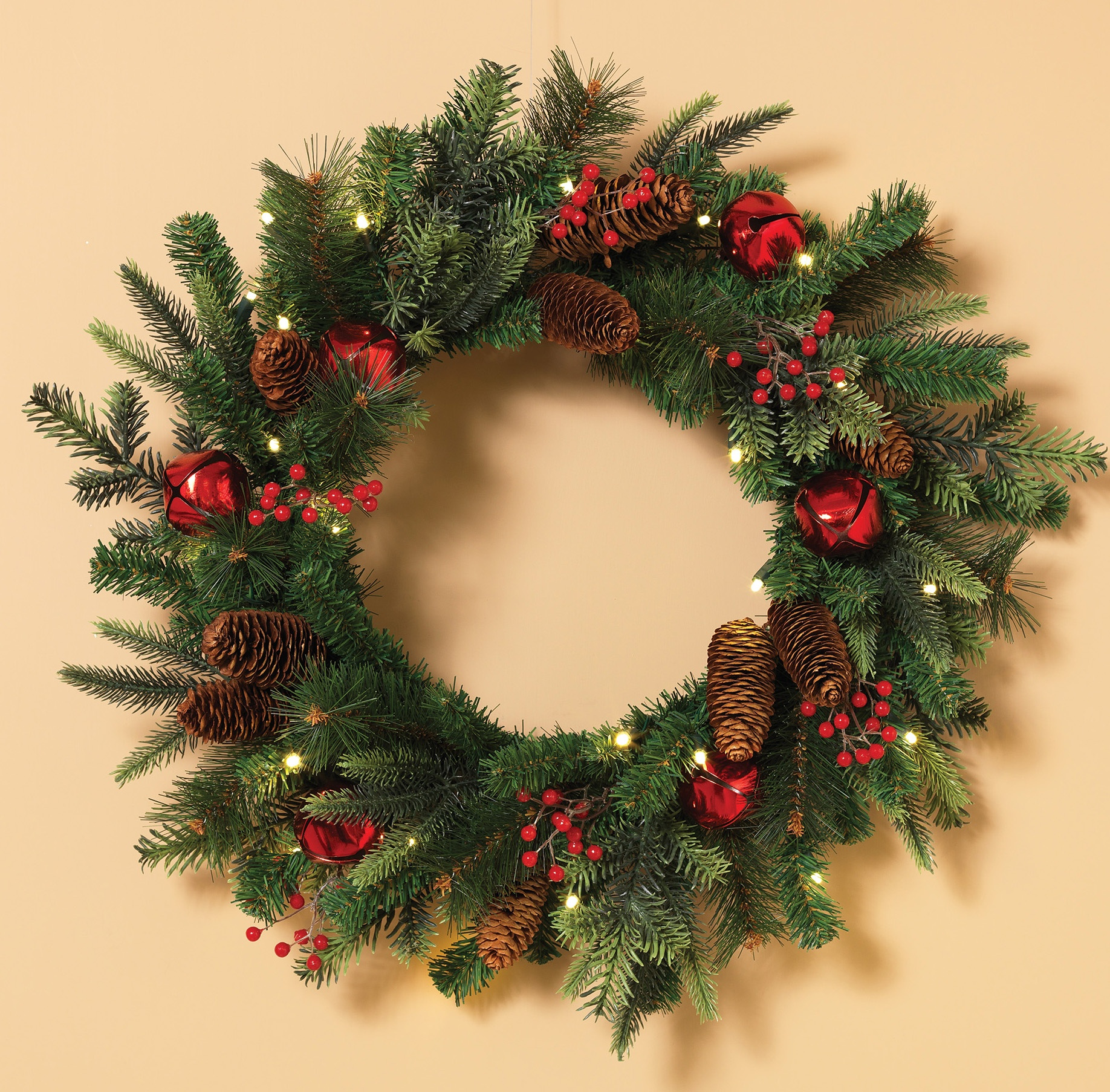 Decorative Wreaths Bells And Holly Prelit Led Holiday