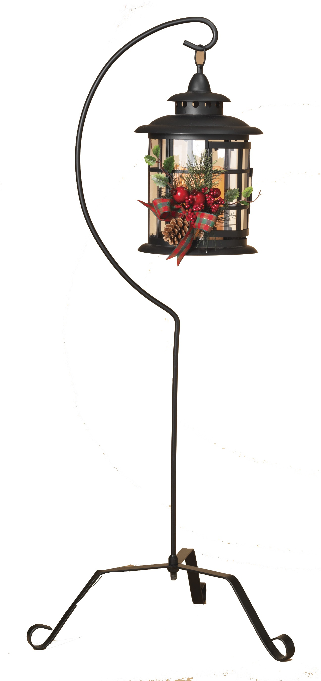 black metal lantern with 37 u0026quot  stand and led candle