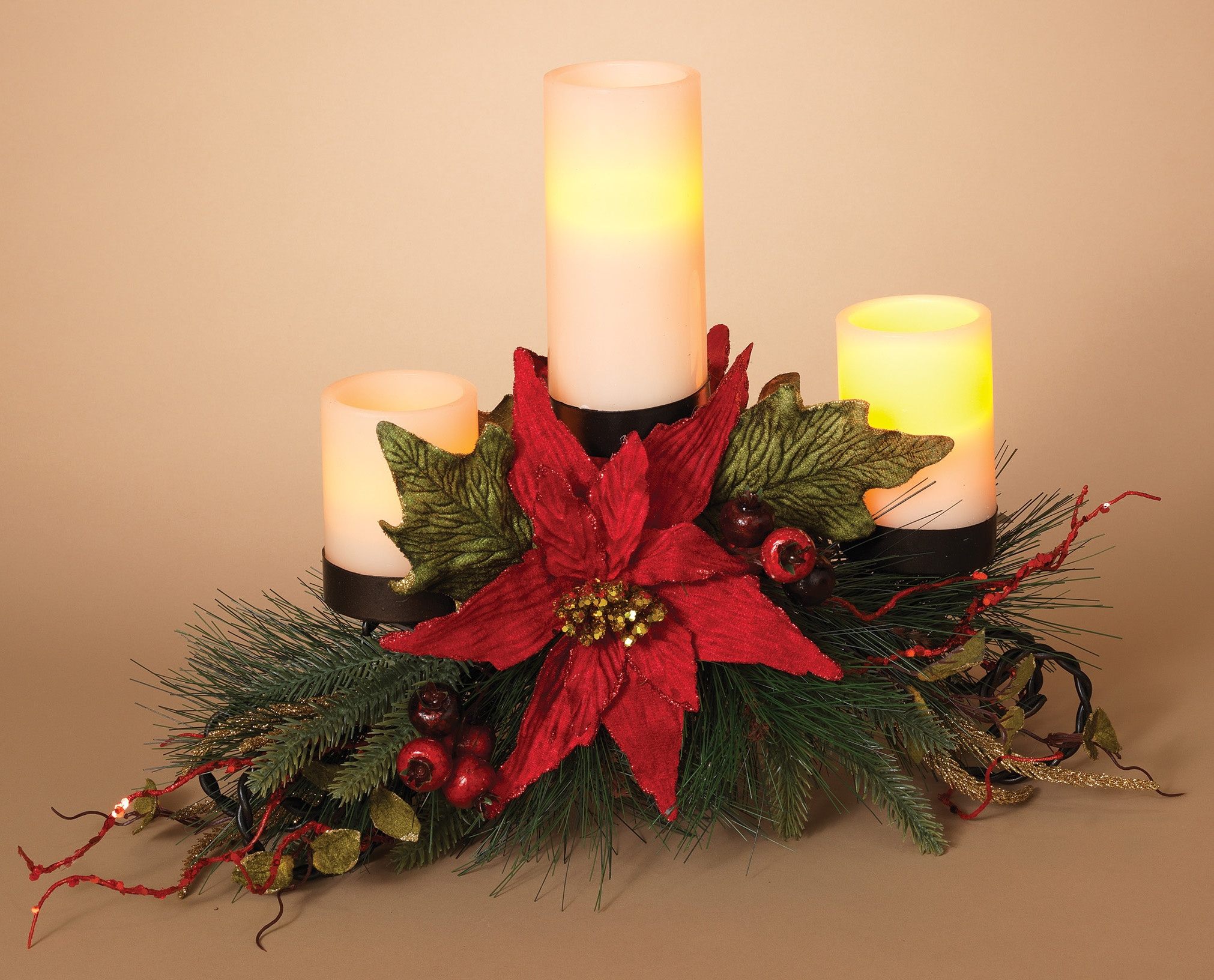 Christmas candle holders metal triple candle holder for Christmas candle displays
