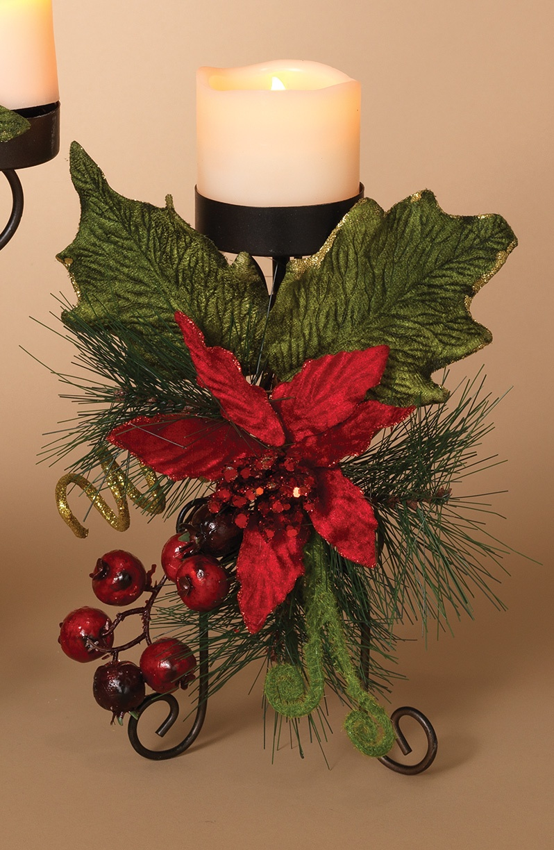 Christmas candle holders metal candle holder centerpiece for Christmas candle displays