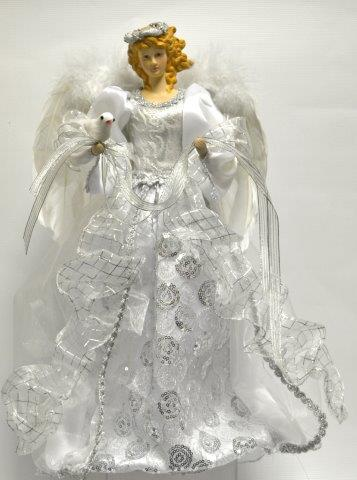 "Not For Sale >> Christmas Decorations - 16"" White and Silver Angel Tree Topper"