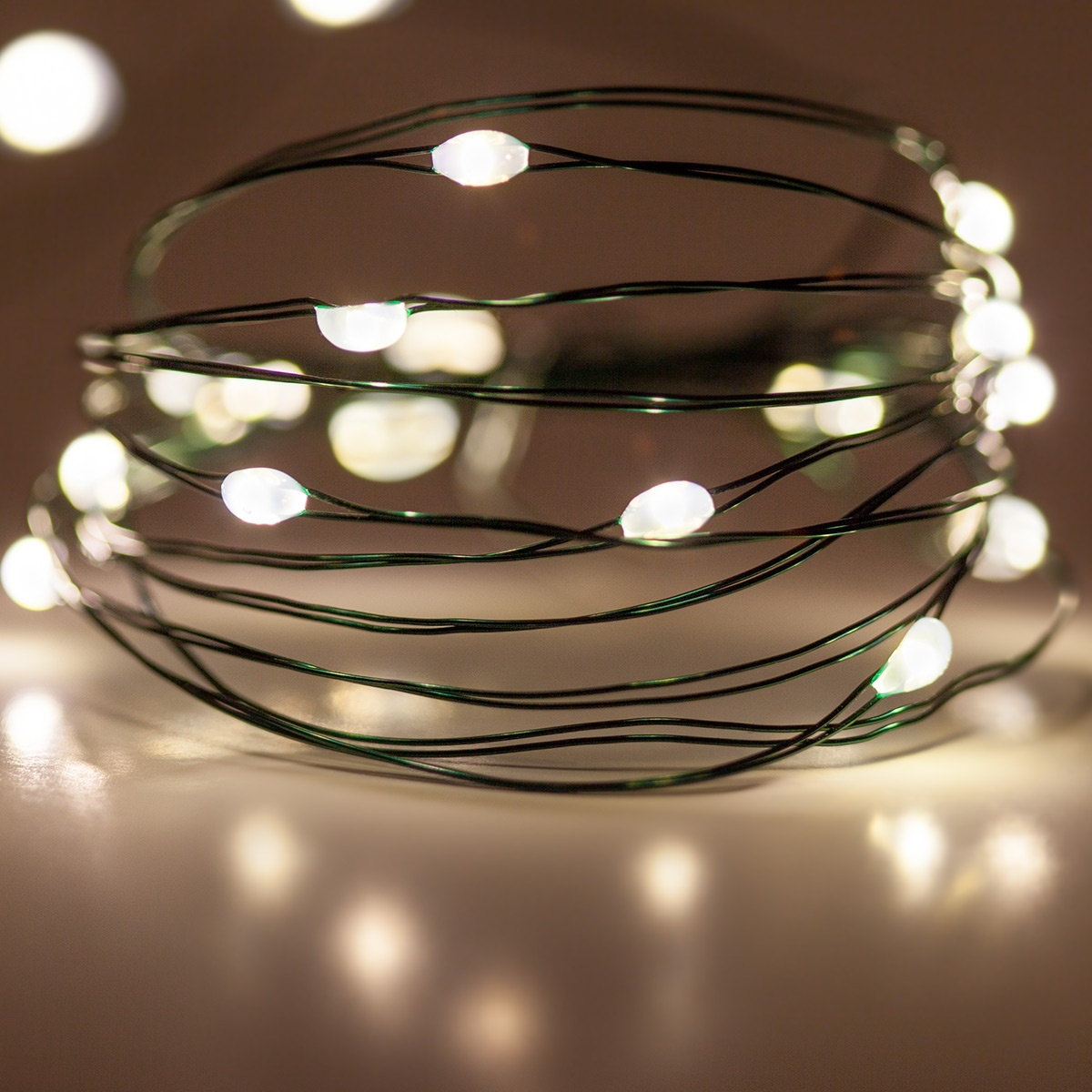 Battery Operated Lights - 18 Warm White Battery Operated LED Fairy Lights, Green Wire