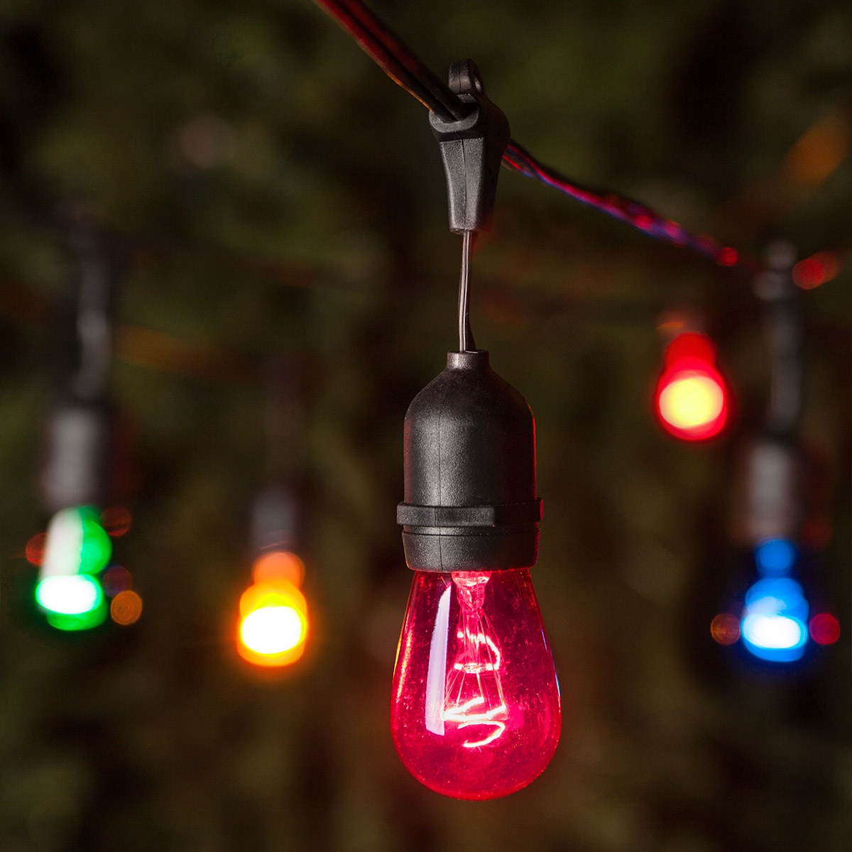 String Lights E26 : Patio Lights - Commercial Multicolor Party Lights, 24 S14 E26 Bulbs Black Wire
