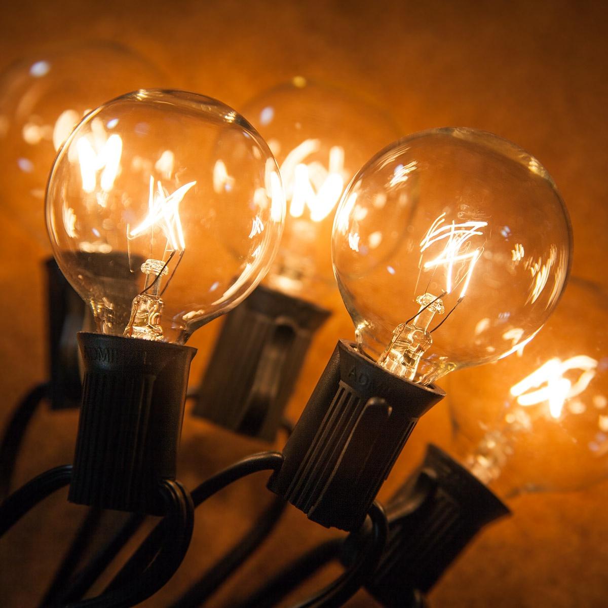 Christmas Lights Shop Charnock Richard: Clear Globe String Lights, 33 G40 E12 Bulbs