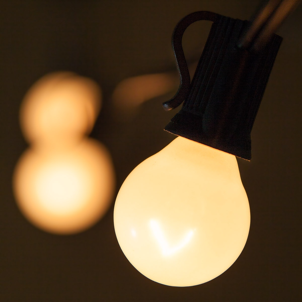 Patio Lights Pearl White Satin Lights 15 G30 E12 Bulbs