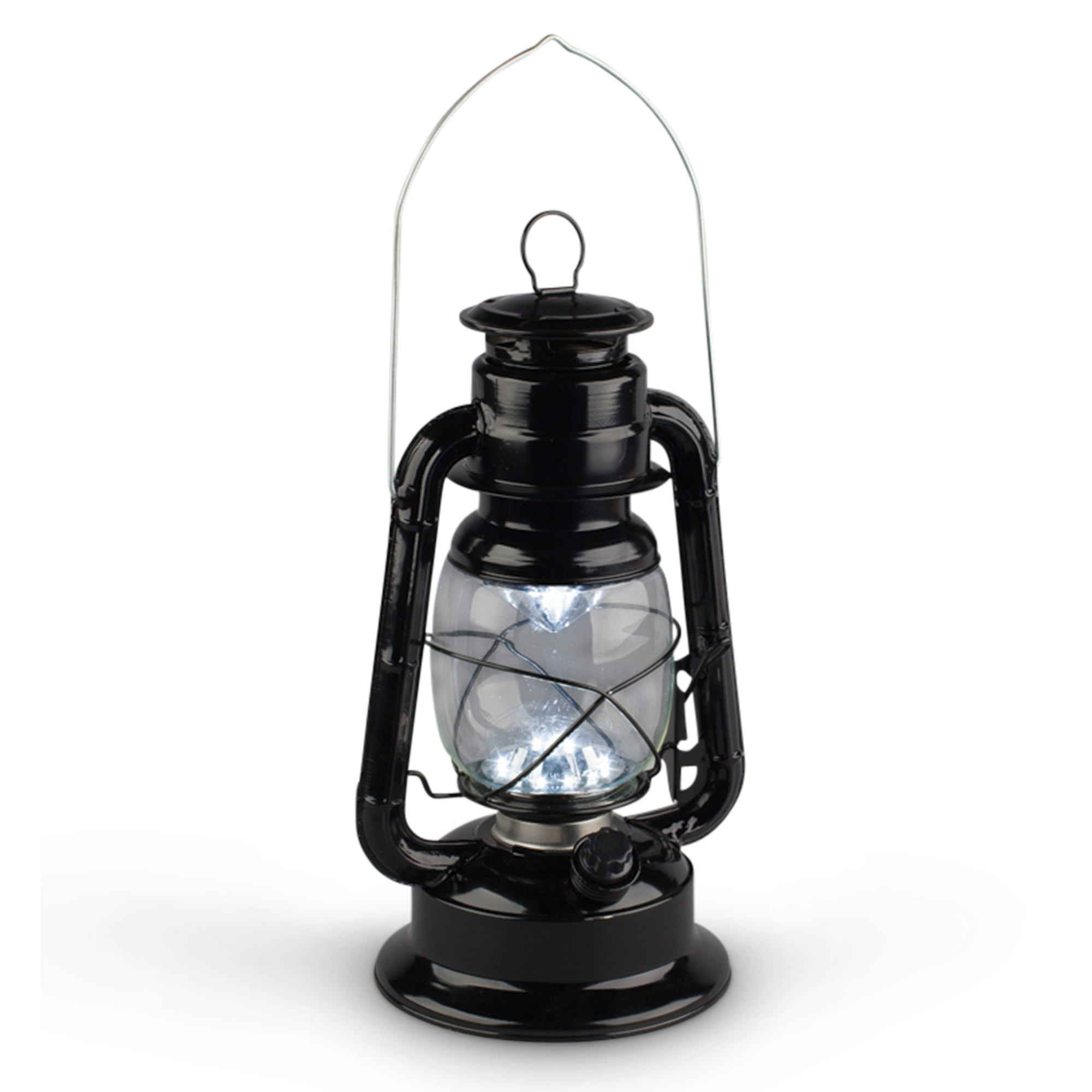 Vintage Metal LED Hurricane Lantern w/Flame Effect - Black