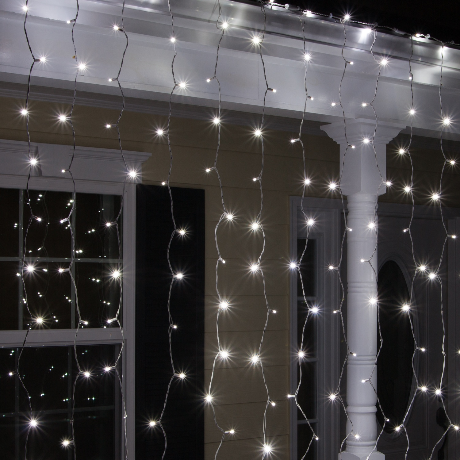 led christmas lights 66 drop cool white led curtain lights 150 lights - White Icicle Christmas Lights