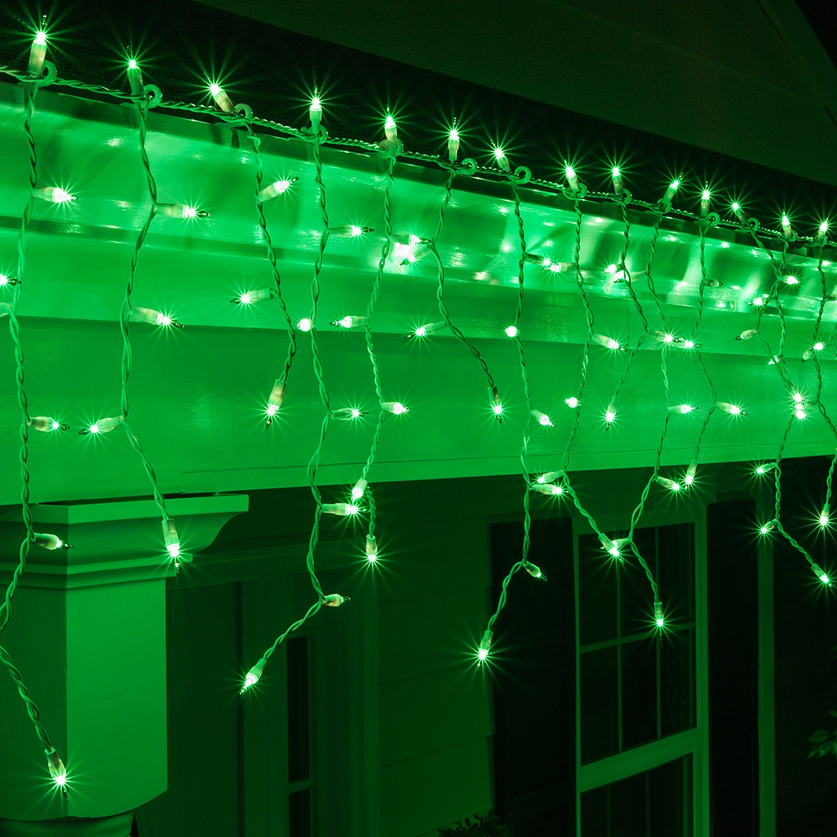 Christmas Icicle Light 150 Green Icicle Lights White Wire