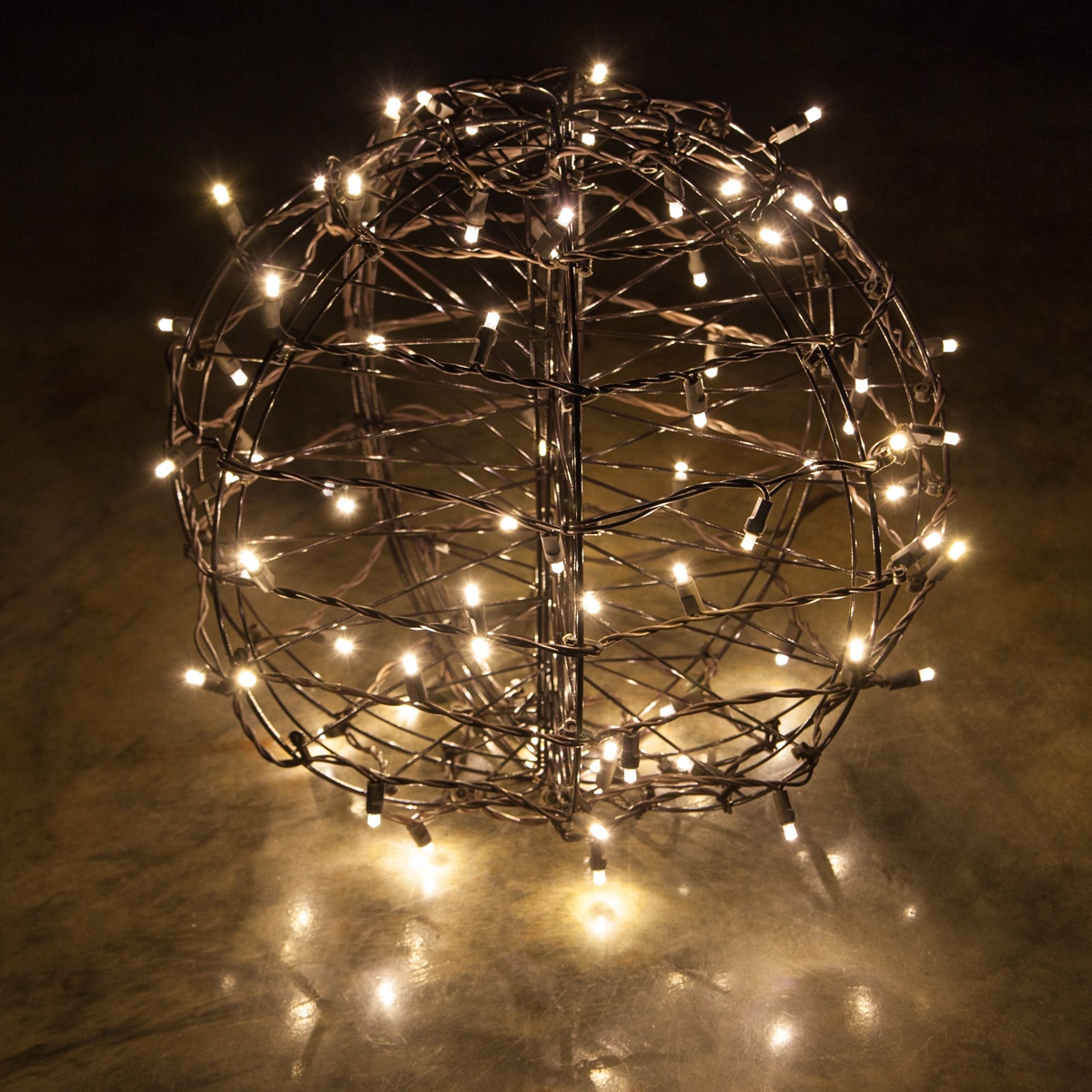 warm white led christmas light ball fold flat brown frame - Christmas Light Balls For Trees