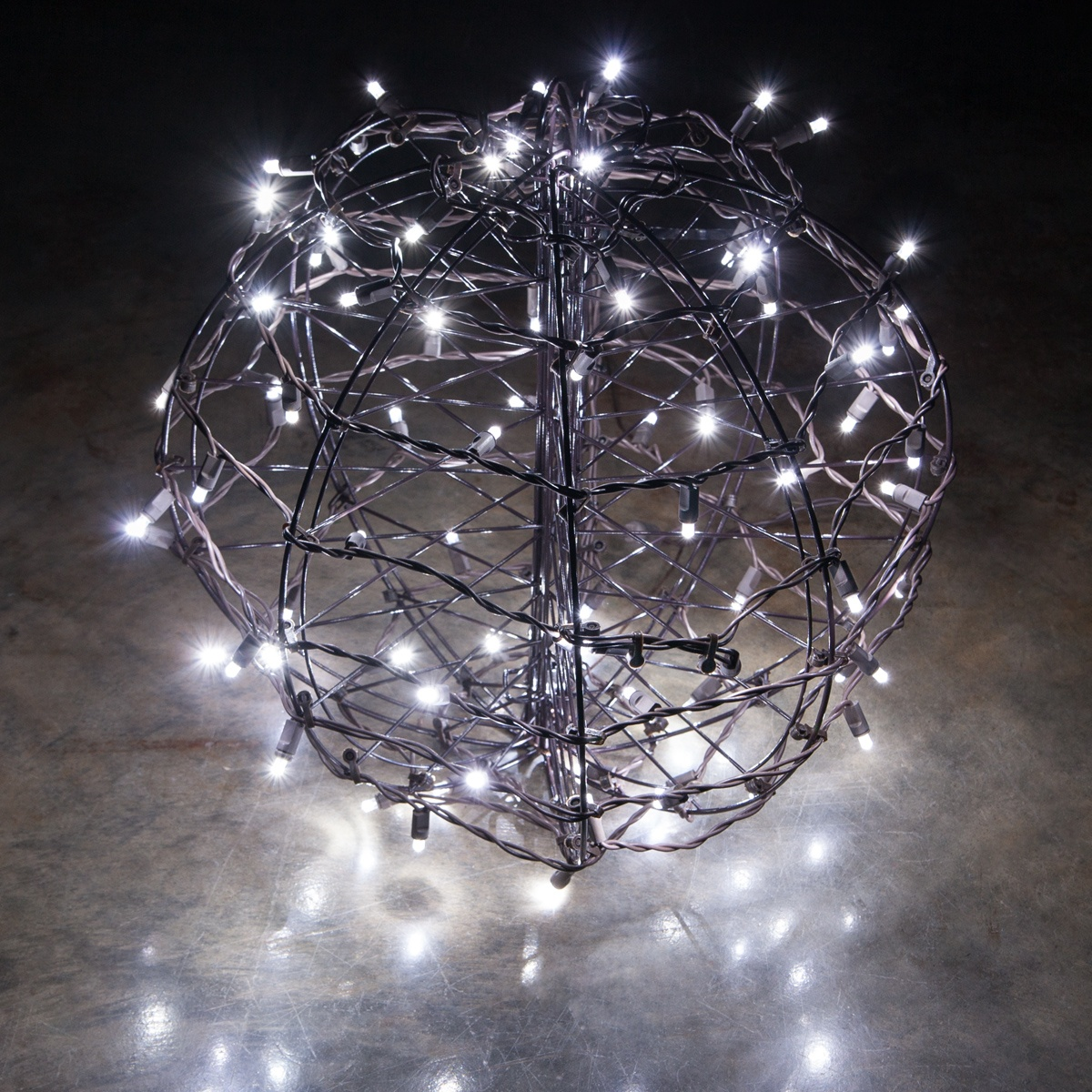 Cool White Led Christmas Light Ball Fold Flat Brown Frame