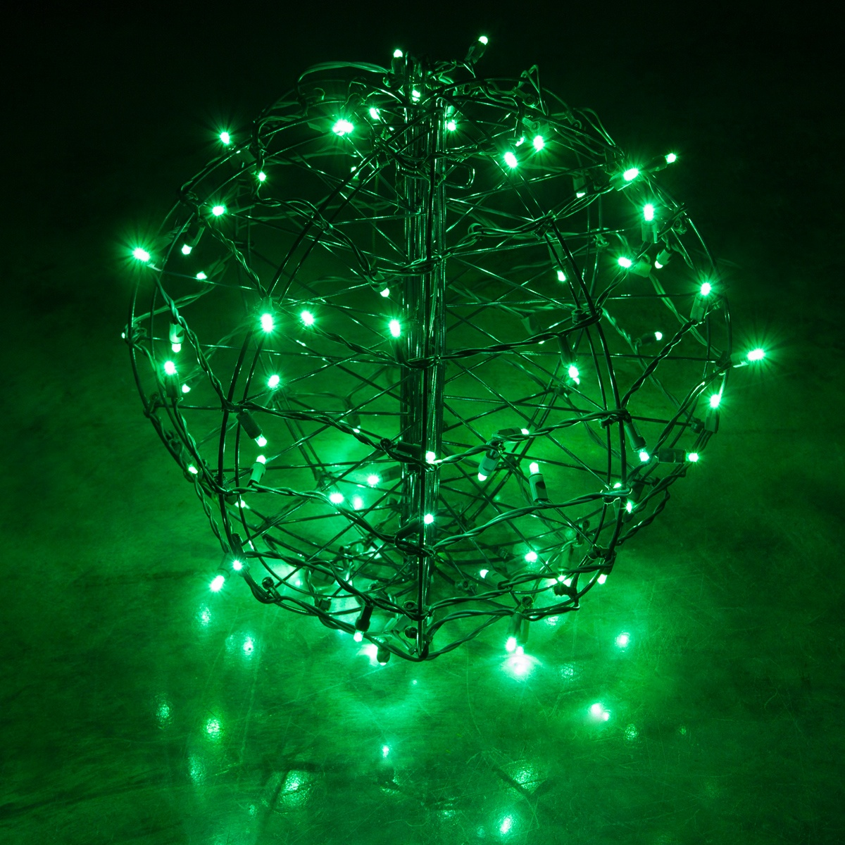 Green LED Christmas Light Ball, Fold Flat Brown Frame