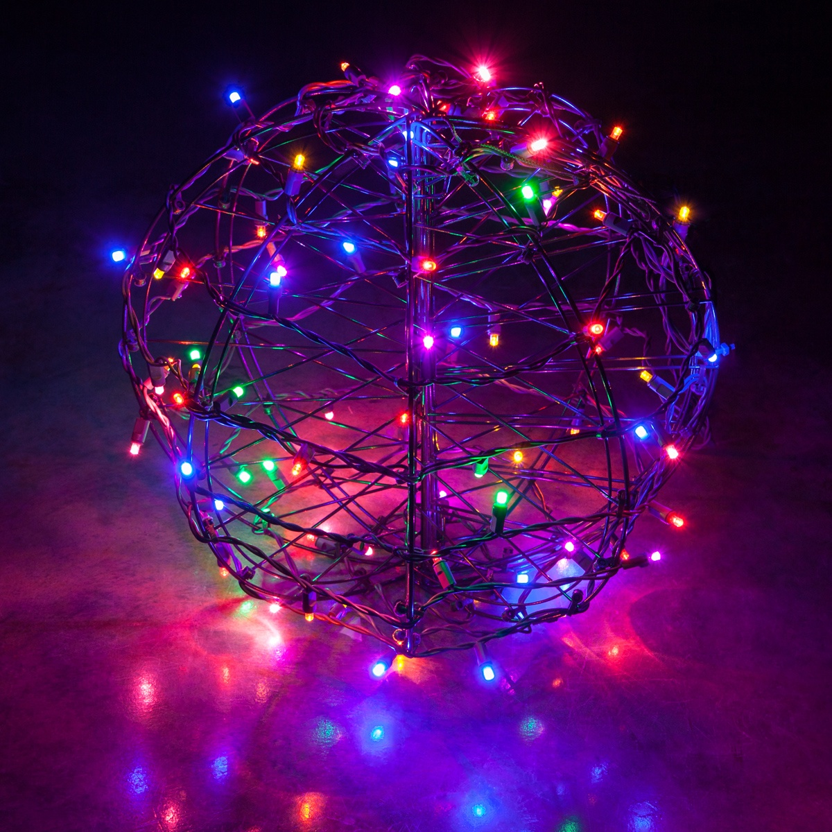 multicolor led christmas light ball fold flat brown frame