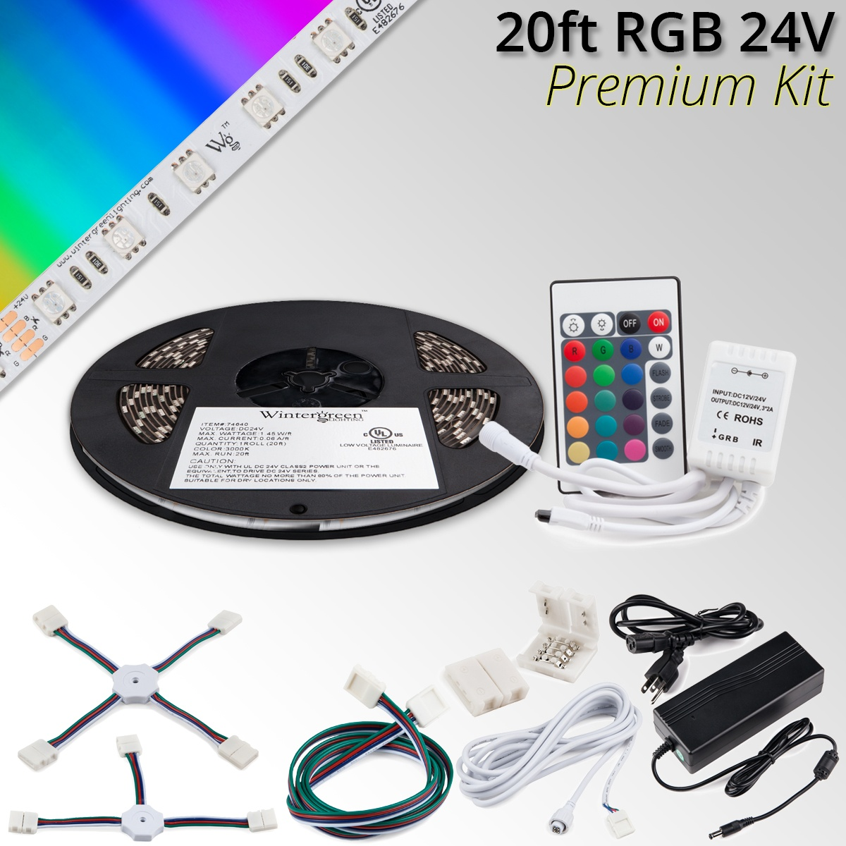 premium 24v high output led strip light kit rgb. Black Bedroom Furniture Sets. Home Design Ideas