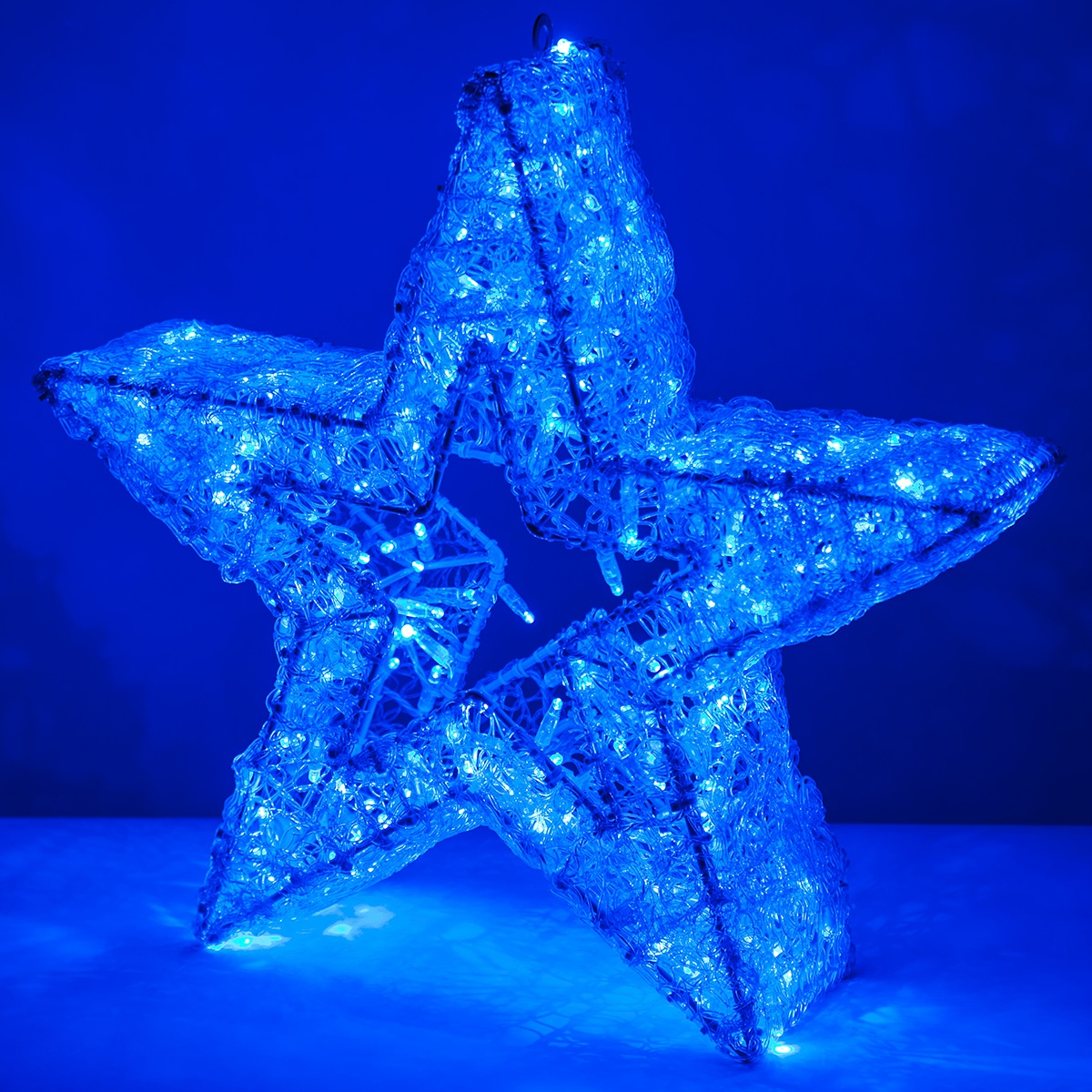 Snowflakes Amp Stars 24 Quot Blue Led Five Point Dimensional Star