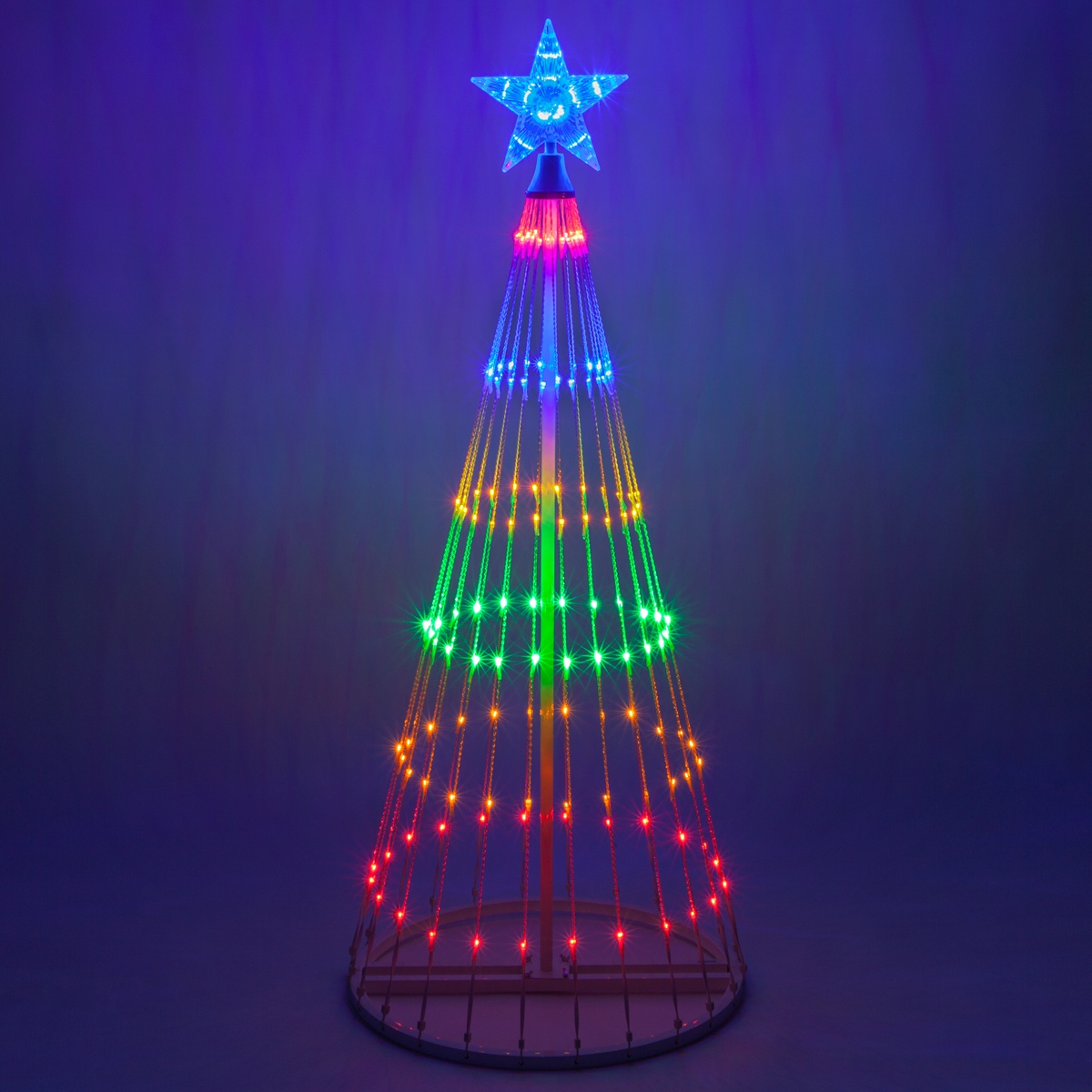 Multicolor led animated outdoor lightshow tree for Outdoor christmas lights