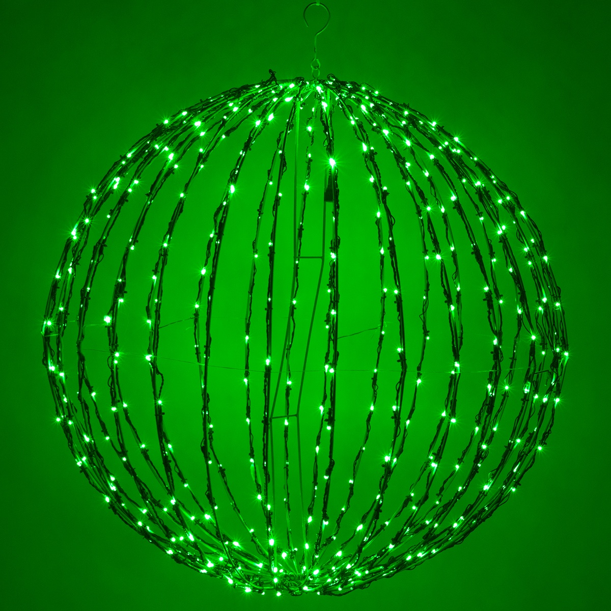 Green Led Christmas Light Ball Fold Flat Green Frame