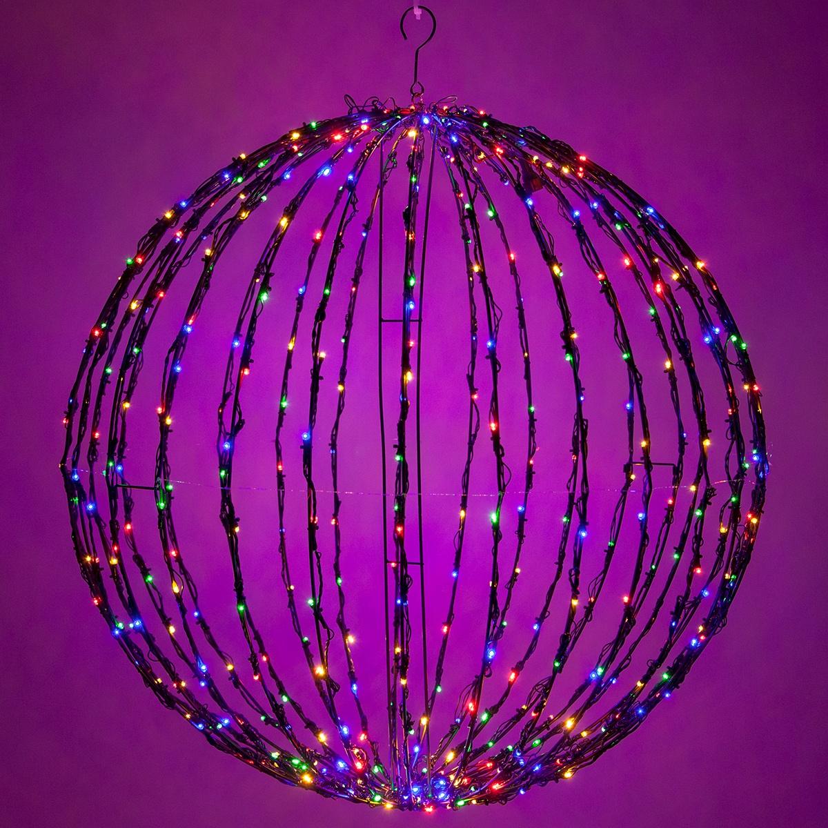 Multicolor Led Christmas Light Ball Fold Flat Black Frame