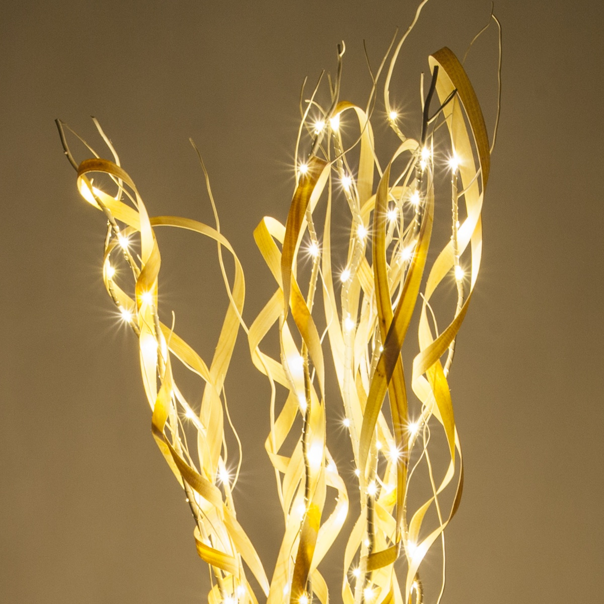 Cream Curly Lighted Branches With Warm White Led Lights 1 Pc